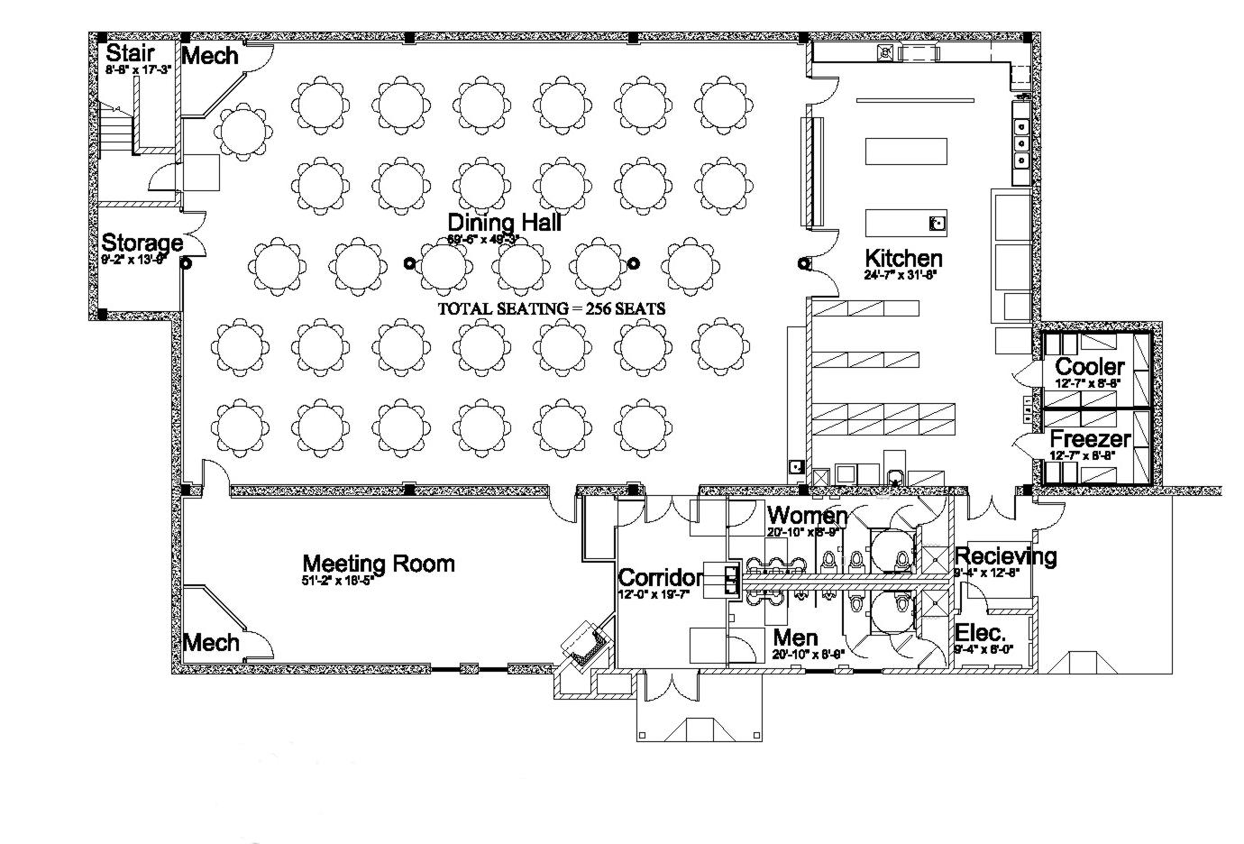 Floor plan bethel camp for Kitchen dining hall design